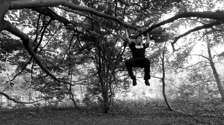 hanging. træning i træ. træklatring.